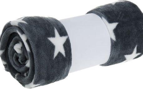 Plyšová dečka šedá hvězdičky 130x160cm