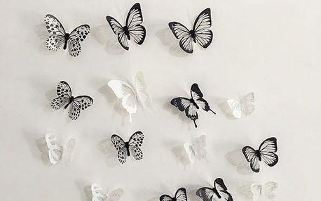 3D nálepky motýlků na zeď, lednici nebo nábytek - dodání do 2 dnů
