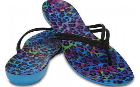 Crocs modré žabky Isabella Graphic Flip Multi/Leopard