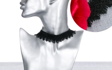 Fashion Icon Náhrdelník gothic choker krajka černý