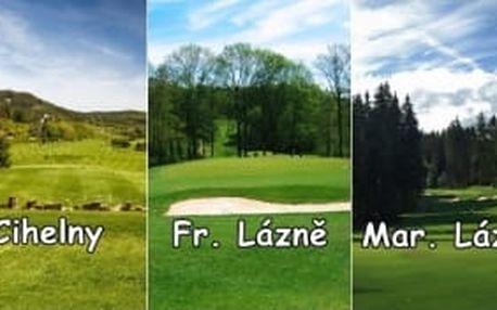 Lázeňský golf na 3 různých hřištích - zahrajte si Cihelny, Františkovy Lázně, Mariánské Lázně kdykoliv včetně víkendů až do konce září se slevou 35%