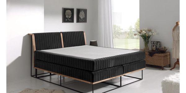 Černá dvoulůžková boxspring postel Sinkro Berlin Calling, 180x200cm - doprava zdarma!2