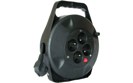 Prodlužovací kabel 230V 10m - 4x zásuvka, černý, na bubnu - 8595092108809