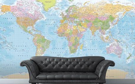 1Wall fototapeta Modrá politická mapa světa 315x232 cm