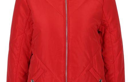Červená prošívaná bunda s kapucí Noisy May Mirja