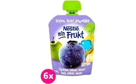 6x NESTLÉ Min Frukt Jablko Banán Borůvka (90 g) – ovocná kapsička