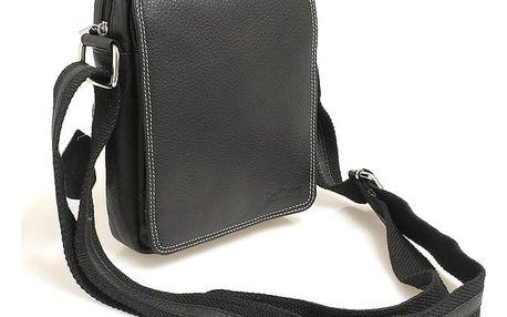 Černá kožená pánská taška přes rameno 52006 černá