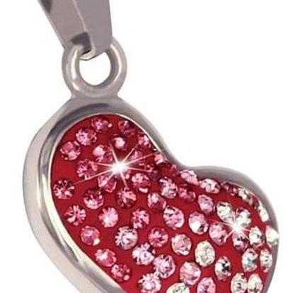 Přívěsek srdce s růžovými kamínky