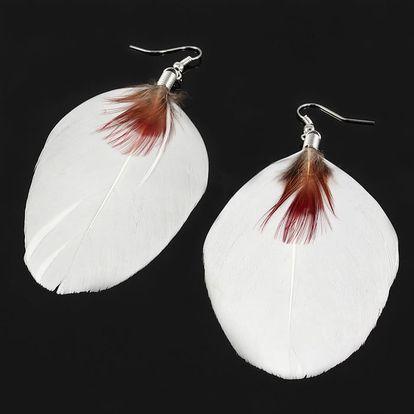 Peříčkové visací náušnice bílá