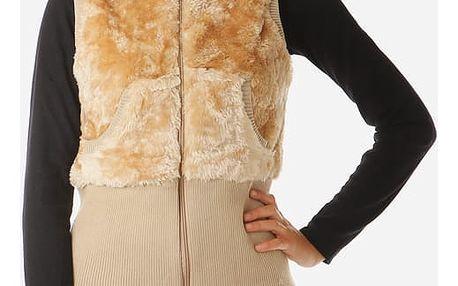 Dámská plyšová vesta s kapucí béžová