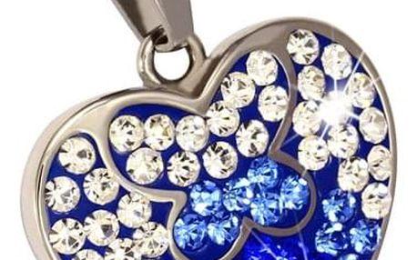 Přívěsek srdce s barevnými kamínky
