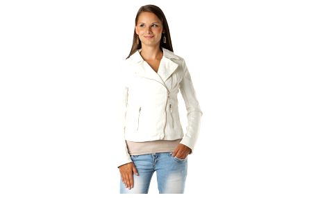 Dámská koženková bunda s krajkou bílá
