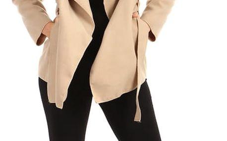 Krátký zavinovací dámský kabát světle béžová