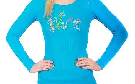 Dámské triko s dlouhým rukávem modrá