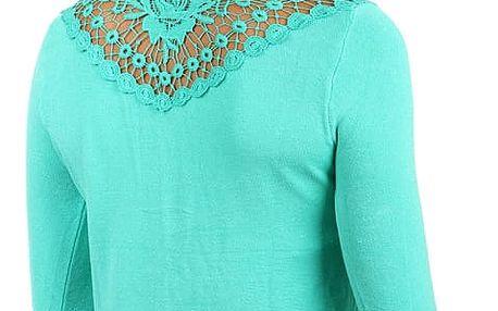 Elegantní svetřík s krajkovou vsadkou tyrkysová