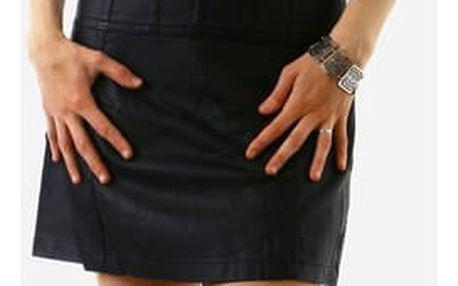 Dámské koženkové šaty černá