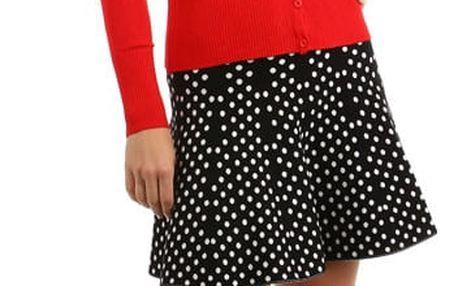 Jednoduchý svetřík s krajkovou vsadkou červená