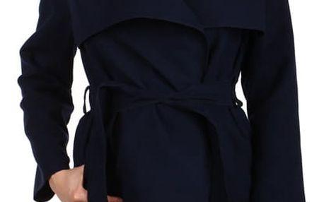 Zavinovací dámský kabát s páskem tmavě modrá