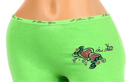 Nohavičkové kalhotky s potiskem zelená
