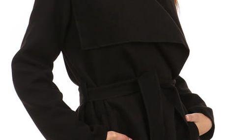 Krátký zavinovací dámský kabát černá