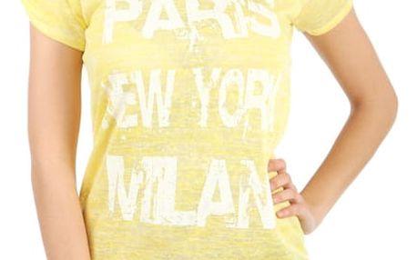Žíhané triko s potiskem žlutá