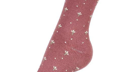 Dámské ponožky s květy vínová