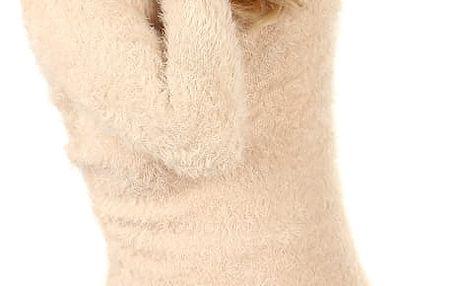 Pletená čepice s bambulí béžová