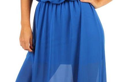 Dlouhé šifonové maxi šaty modrá