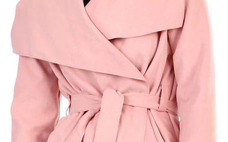 Krátký zavinovací dámský kabát starorůžová
