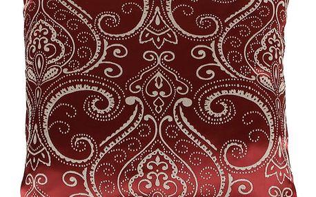 Lesklý polštář s ornamenty červená