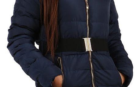 Prošívaná dámská zimní bunda s kožíškem černá