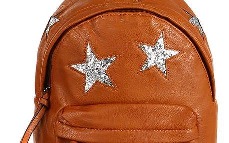 Koženkový batůžek se třpytivými hvězdami hnědá