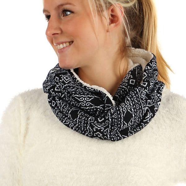 Nádherný oboustranný šátek s kožíškem černá2