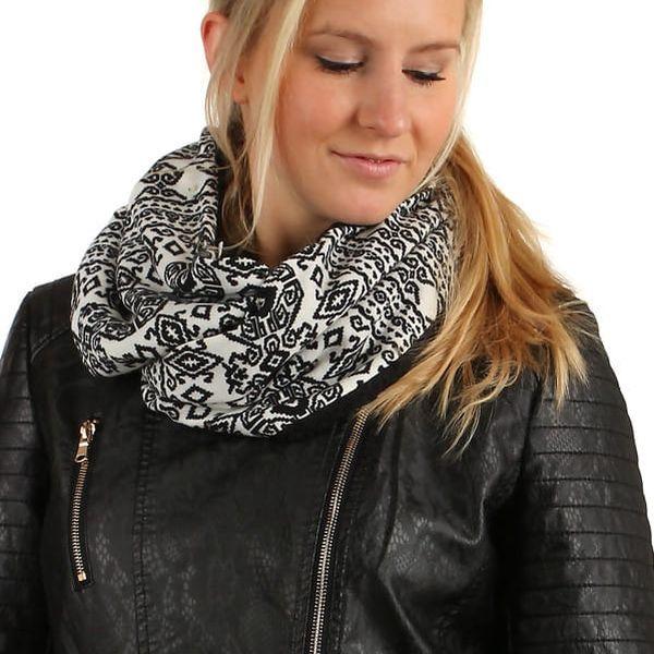Nádherný oboustranný šátek s kožíškem černá3