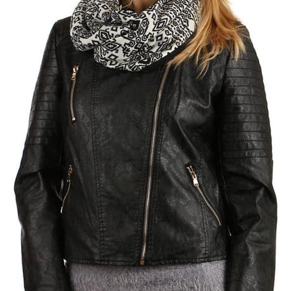 Nádherný oboustranný šátek s kožíškem černá4