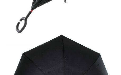 Obrácený holový deštník s dvojitým potahem v černé barvě