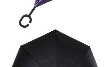 Obrácený holový deštník s dvojitým potahem v fialové barvě