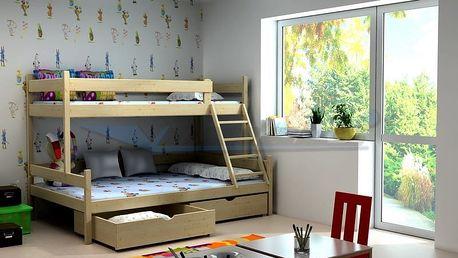 Patrová postel s rozšířeným spodním lůžkem PPS 002 200 cm x 120 cm Bezbarvý ekologický lak