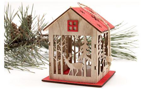 Dřevěný dekorační domeček svítící - Vánoční sob