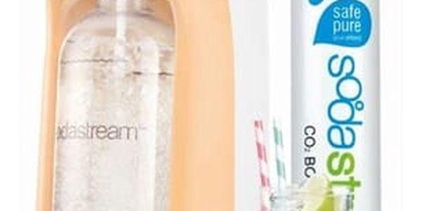 Výrobník sodové vody SodaStream Pastels JET PASTEL ORANGE oranžový + dárky Příchuť pro perlivou vodu SodaStream TROPIC Ananas-Kokos + Příchuť pro perlivou vodu SodaStream TROPIC Mango-Kokos v hodnotě 258 Kč