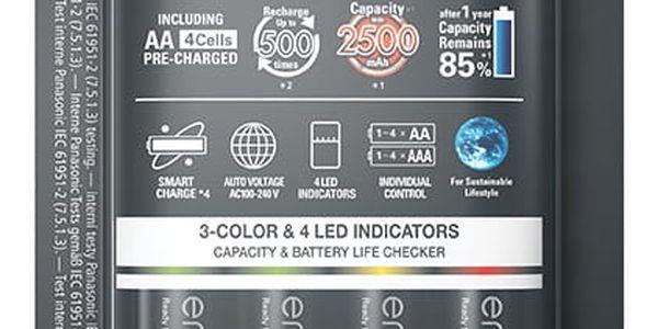 Nabíječka Panasonic Smart-Quick Charger pro AA,AAA + 4x Panasonic Eneloop Pro 2500mAh (K-KJ55HCD40E) černá2