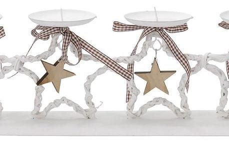 StarDeco Dekorativní svícen Hvězdy bílá, 47 cm