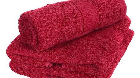 Froté ručník se vzorem Menheten vínová
