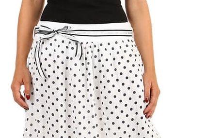 Lněná dámská retro sukně s kapsami bílá