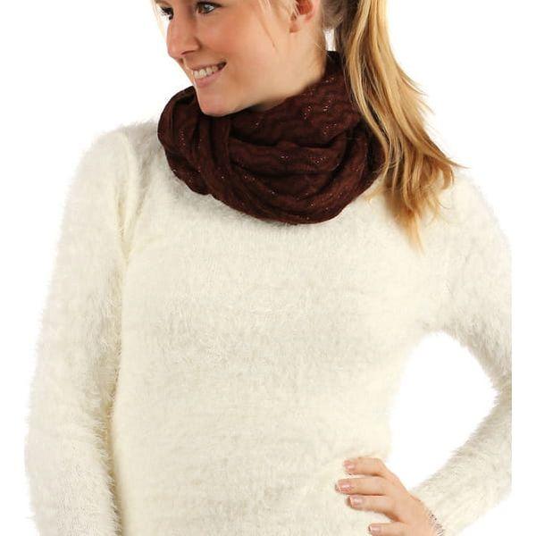 Pletená šála s třásněmi krémová5
