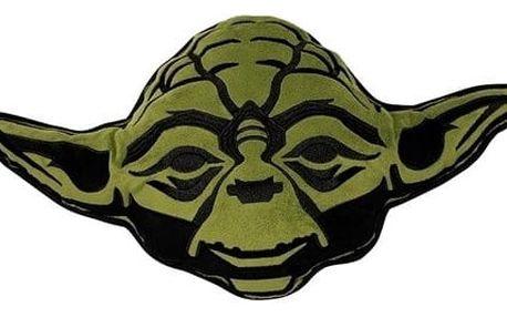 Cure Pink Tvarovaný polštářek Star Wars Yoda, 35 x 33 cm