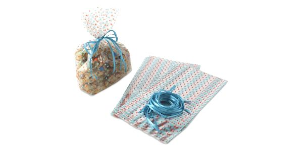 Nordic Ware Celofánové sáčky a stuhy Bake and Gift - 24 ks, červená barva, modrá barva, čirá barva, plast