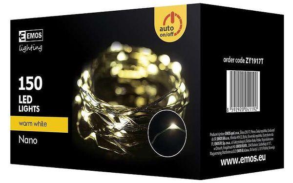 Vánoční osvětlení EMOS 150 LED, 15m, řetěz zelený (miniaturní), teplá bílá, časovač, i venkovní použití (1534191700)5