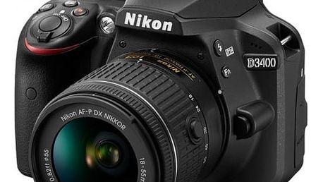 Nikon D3400 AF-P 18-55 VR + 70-300 VR + 16GB + bag + 4K akční kamera