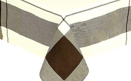 Forbyt Ubrus kostka hnědá, 140 x 180 cm